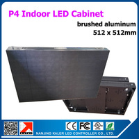TEEHO Indoor Common Brushed Aluminum Led Display Cabinet Size 512x512mm P4 LED Video Billboard Rental Led Display