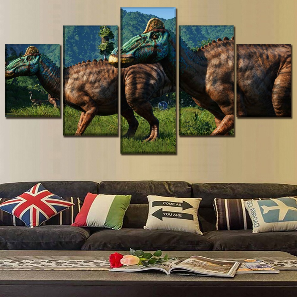 Movie Poster 5 Piece Jurassic World Evolution Dinosaur <font><b>Bild</b></font> 7 Pictures Wall Art Home Decor Modular Painting Canvas HD Print image