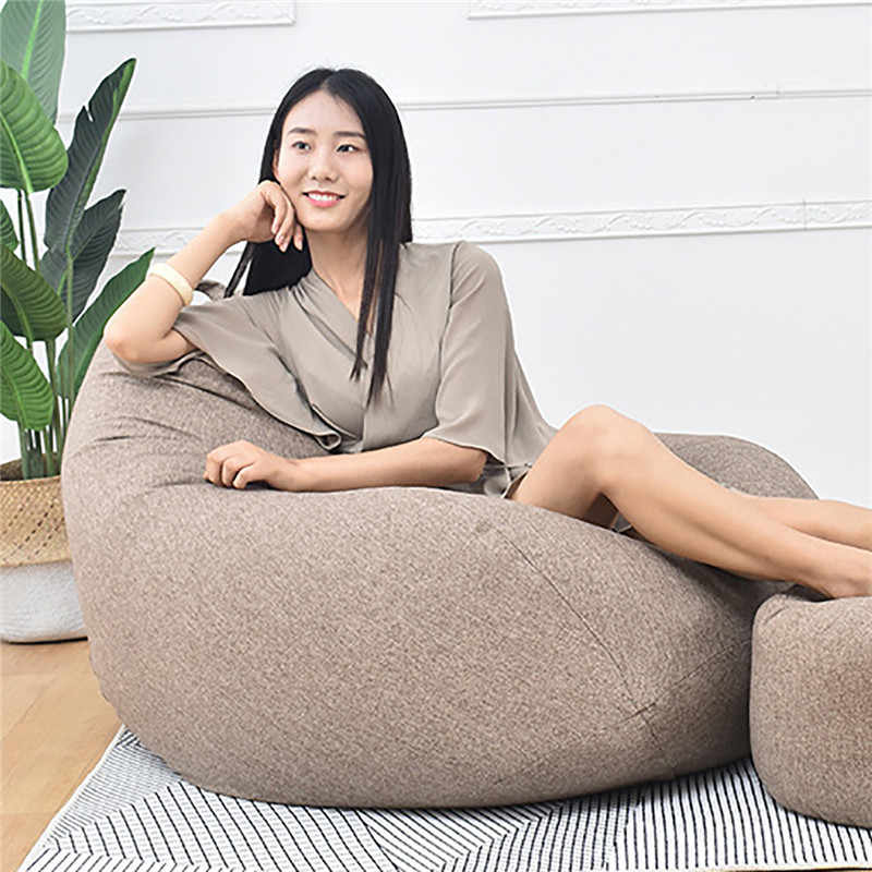 Sofá Do Saco de feijão Tampa Da Cadeira Espreguiçadeira Sofá Signle Assento Mobília da Sala de Cama Sem Enchimento Beanbag Pouf Puff Pufe Sofá Preguiçoso tatami