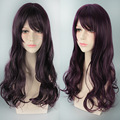 70 Cm Lovely Lolita Style Women Wine Red Mixed Purple Long Curly Cosplay Heat Resistant Party Wigs Synthetic Hair Perruque H083
