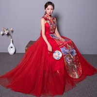 Red Sexy Wedding Dress Cheongsam Long Qipao Women Traditional Chinese Dresses China Clothing Store Style Chinois Femme