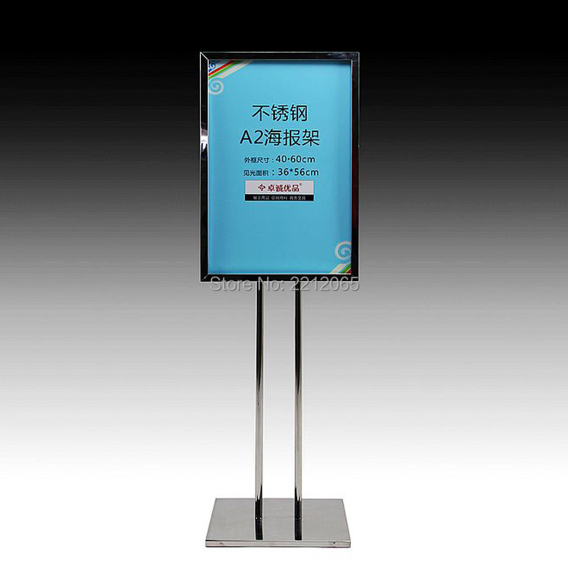 A2 Double Pole Floor Stand Poster Sign Frame with Rectangle Steel Base for Advertising ,Graphics,Signage and Poster