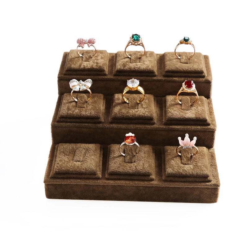 15*15*6.5cm Brown Velvet Carrying Case Jewelry Ring Display Box 9 Holes Tray Holder Storage Organizer Case For Counter Display