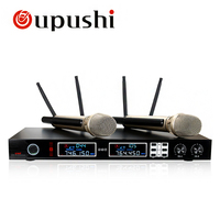 Oupushi New Dual UHF Handheld Microphone Wireless Cordless Mic With Receiver Microfone For Karaoke DJ Sing Songs Microphones