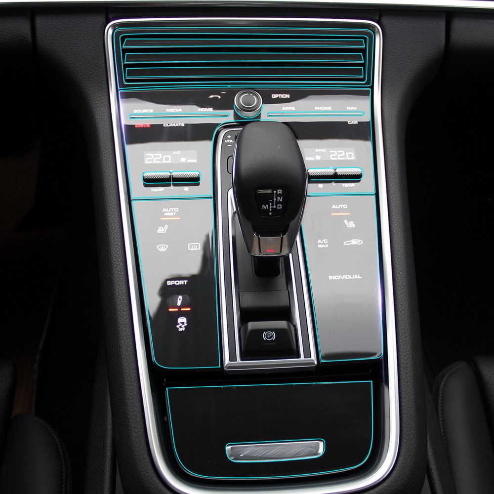 Detail Feedback Questions About Car Center Console Control Gear Panel Kit Interior Trim Protective Film Sticker For Porsche Panamera 2017 2018 Accessories