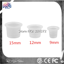 100pieces Per Lot 12MM Disposable Middle Pigment Container Plastic Holder Tattoo Accessories Supplies Body Art Ink Cup