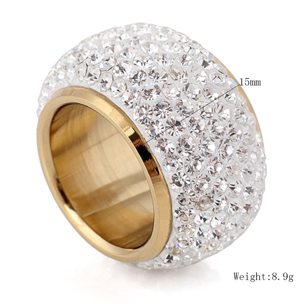 Wholesale shining full rhinestone finger rings for woman luxurious paragraph Crystal Jewelry Ring gold-color 3
