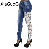 Wysokiej Jakości Koronki Niebieski Kobiety Skinny Jeans Demin Niższe Lu7 Chłopaka Floral Ołówek Kobiece Spodnie Jeansowe Spodnie Na Co Dzień Wiosny 35