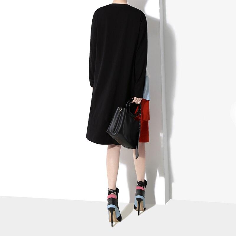 Image 5 - New 2019 Korean Style Women Long Sleeve Autumn Dress Black  Cascading Ruffles Female Casual Patchwork Party Dress Robe Femme  4660Dresses