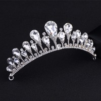 DIEZI Fashion Flower Baroque Luxury Crystal Silver Bridal Crown Tiaras Gold Diadem Tiaras Women Bride Wedding