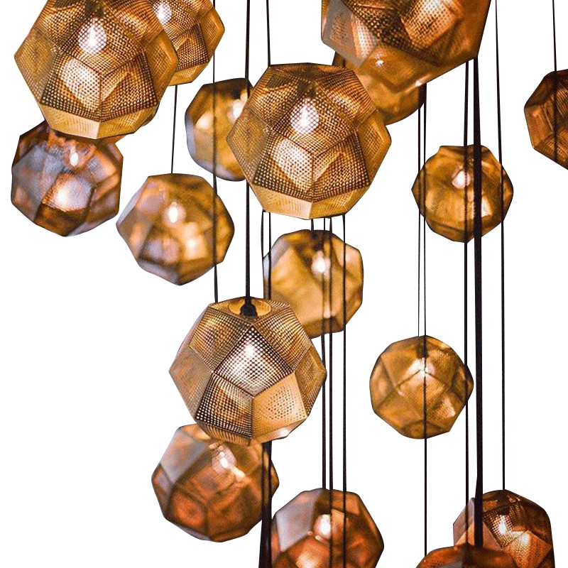 Post-modern Etch Shade Carved Stainless Steel E27 Pendant Light For Living Room Dining Room Bar Shop Dia 25/32/48cm 1447 dia 72cm 75cm designer lighting etch shade suspension pendant lamps golden stainless steel shade pendant lights