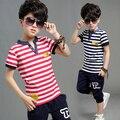 [Bosudhsou] T shirt + Pant Niños traje de Ocio de manga Corta de Verano Ropa de Gaza Kids Setstripe harem pants set WT-2