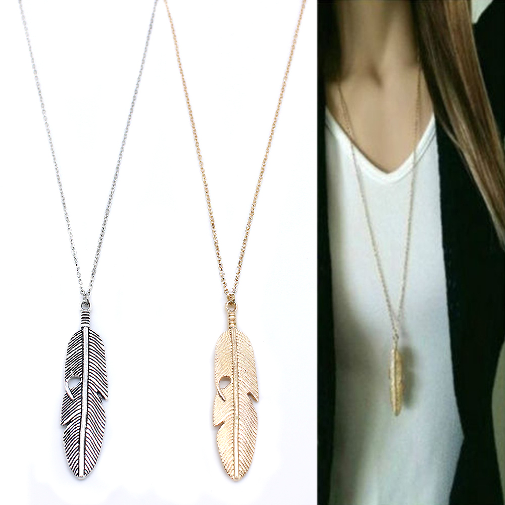 Simple Classic pendant Necklace Feather Necklace Long Sweater Chain Statement Jewelry choker Necklace for Women leaf Chocker(China)