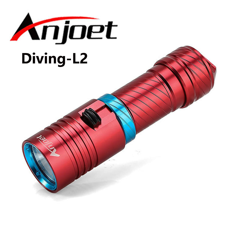 Anjoet Portable 5000LM CREE XM-L2 LED Waterproof Torch Flashlight Light Scuba 100m Underwater Diving Flashlights 18650/26650 100m led diving flashlight diver torch scuba flashlights underwater light 3200lumen cree xm l2 lamp rechargeable waterproof