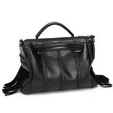 2017 nova marca de moda europeu rebite do saco das mulheres PU borla Luxo designer mulher bolsas de ombro crossbody bolsas de compras online