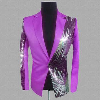 Plyesxale Brand Sequin Blazer Men Royal Blue Yellow Black Rose Red Purple Blazers For Men Singer Costume Prom Stage Blazer Q229