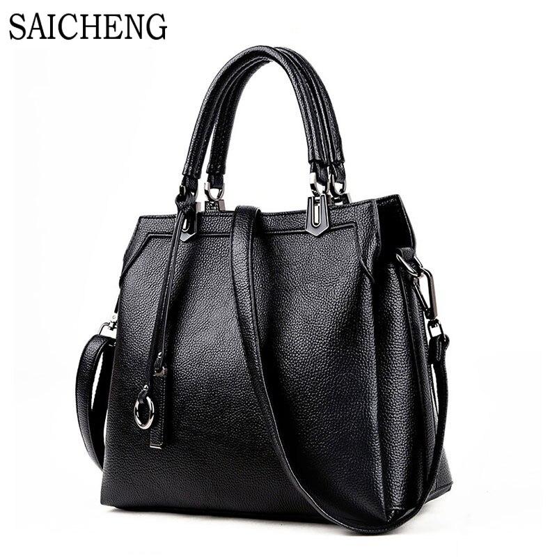 ФОТО SAICHEN Brand Leather Business Women's Handbags Ladies Shoulder Bags For Women Messenger Bag Circle Crossbody Spanish Sac A Main