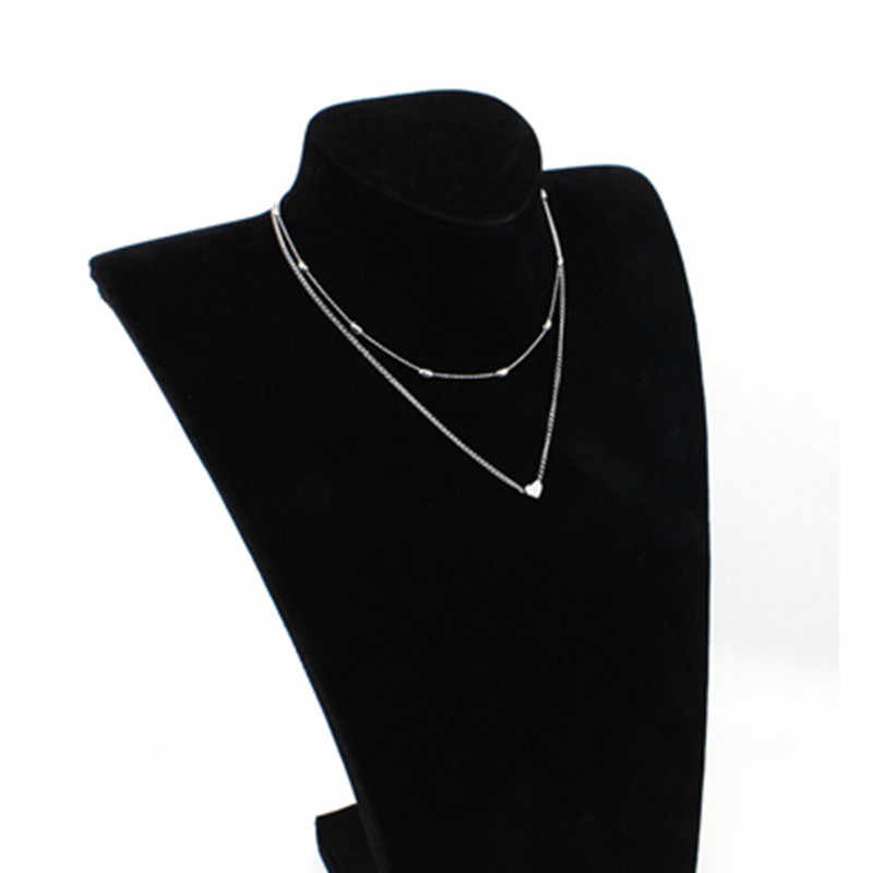 2019  Fashion Gold Silver Color Jewelry Love Heart Necklaces & Pendants Double Chain Choker Necklace Collar Women Jewelry Gift