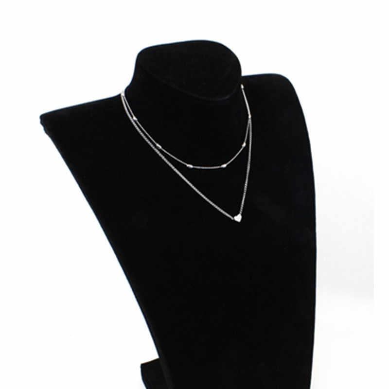 2019 ファッションゴールドシルバーカラージュエリー愛のハートネックレス & ペンダントダブルチェーンチョーカーネックレス襟女性ジュエリーギフト