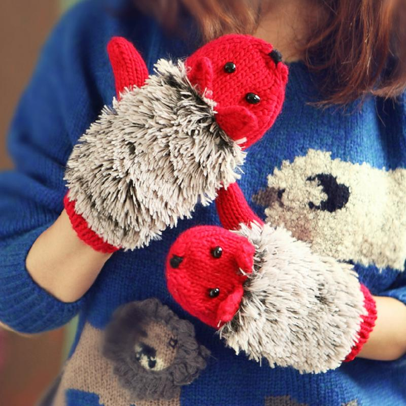 Winter Warm Cartoon Hedgehog Gloves Women Cute Knit Female Cotton White Mittens Guantes Mujer Luvas Feminina Luva