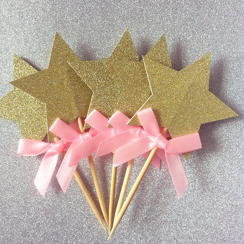 Pink bow gold silver black gliter stars cupcake toppers for Baby shower cupcake picks decoration
