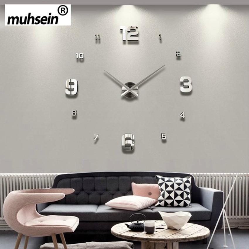 muhsein designhome completo negro moderno del reloj de pared decoracin espejo grande d diy grande relojes de pared decora