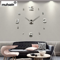 2017muhsein Full Black Wall Clock Modern Design Home Decoration Big Mirror 3D DIY Large Decorative Wall Clocks Watch Unique Gift