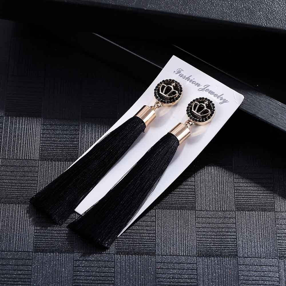 Fashion Black Crystal Flower Tassel Earrings For Women Vintage/Korean/Statement /Drop/Long Earrings Women Jewelry Oorbellen gold earrings for women