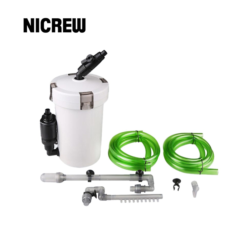 Nicrew Солнечный аквариум фильтр ультра-тихий Внешний Аквариум 3-stage внешний корпусный фильтр ведро 220 В/6 Вт/HW-602B/HW-603B