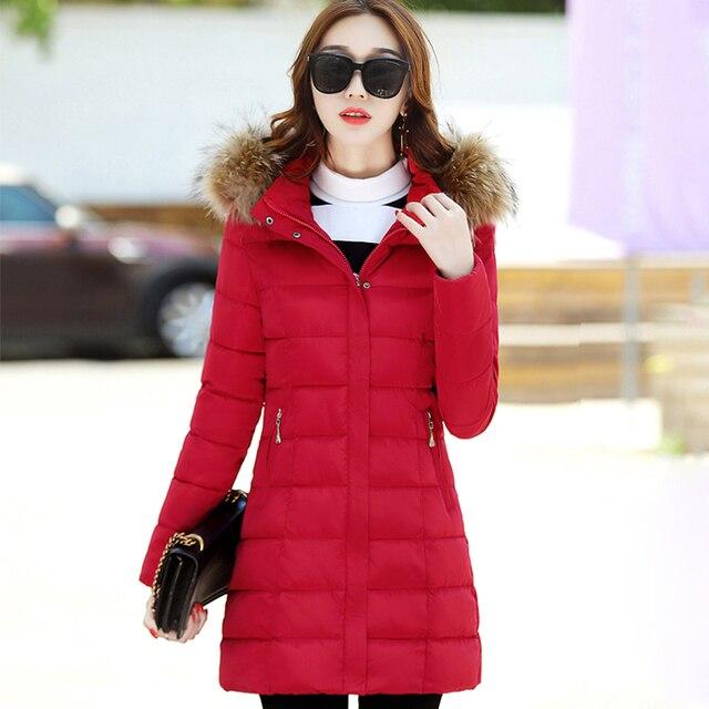 b41d61a81f US $42.56 24% di SCONTO|Bello Caldo di Inverno Delle Donne Cappotto Lungo  collo di Pelliccia Nero Rosso giacca Donna Con Cappuccio Plus Size 2XL  Parka ...