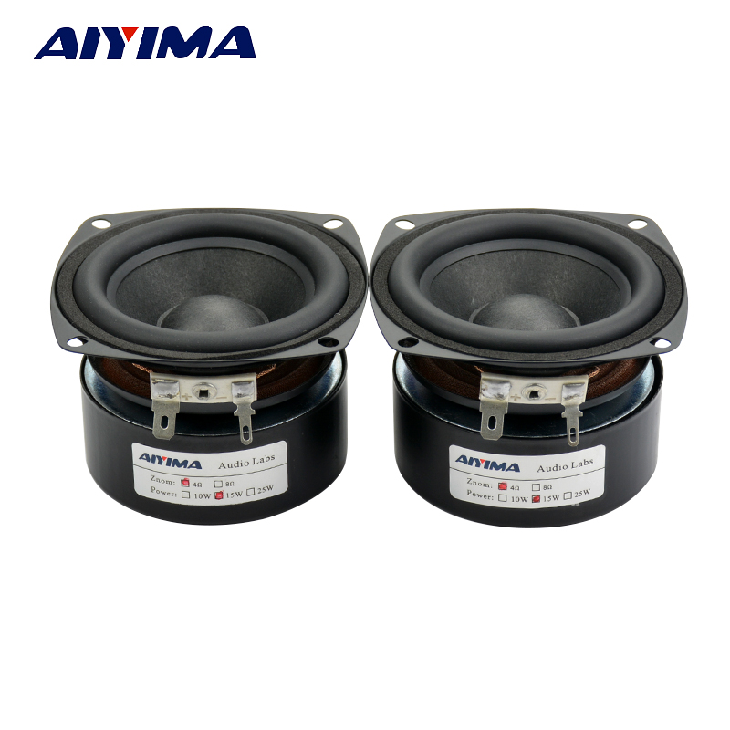AIYIMA 2Pcs 3Inch Full Range Speakers 4Ohm 15W Speaker Subwoofer Tweeter HIFI Muzik FM Radio Home Video System Speaker
