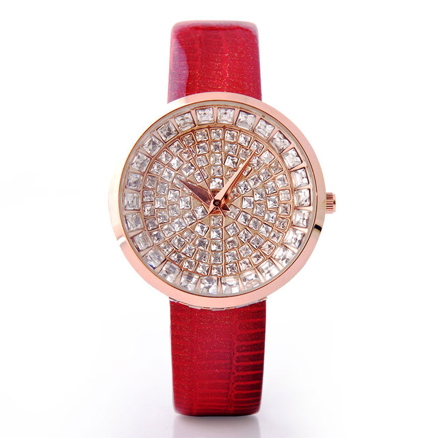2017 Hot Sell Women Luxury Watch Genuine Leather Strap Full Crystal Diamond Bling Analog Quartz Ladies Wristwatch Mujer Relojes