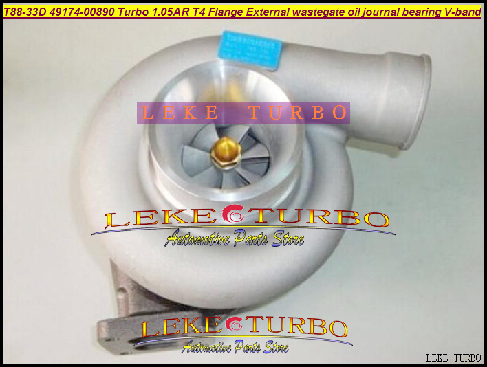 Free Ship New Turbocharger T88 T88-33D 49174-00890 Universal turbo 1.05AR T4 Flange oil Journal Bearing 97mm v band 1000HP