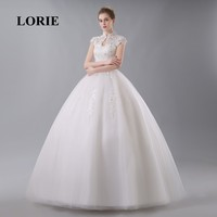 LORIE China Bridal Gown Lace Wedding Dress High Neck Elegant Appliques Beaded Cap Sleeve Lace Up