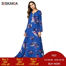 Siskakia elegant ladies Vintage print swing dress Plus size draped design maxi long dress Blue high waist Spring Autumn Fall UAE
