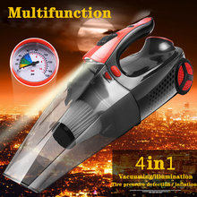 4 In 1 Car Vacuum Cleaner Inflatable Pump Tire Pressure Detection LED Lighting Handheld Wet Dry Use 120W Mini