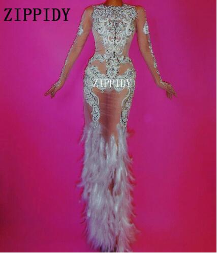 New Fashion Luxurious Rhinestones Dress Glisten Evening Feather Mesh Dress Women s Prom Birthday Celebrate