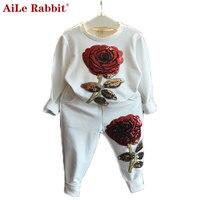 Autumn Children 2016 Kids Clothes Fashion Sequins Roses Pattern Long Sleeved Sweatshirt Pants Cotton Clothing Girls