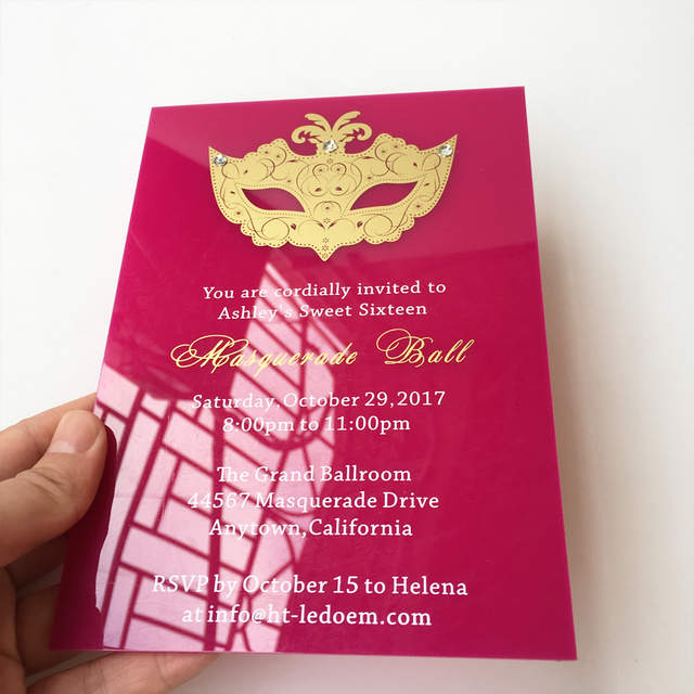 Customized 5x7inch Fuchsia Acrylic Birthday Invitation Card Sweet Sixteen Masquerade Ball 100pcs Per Lot