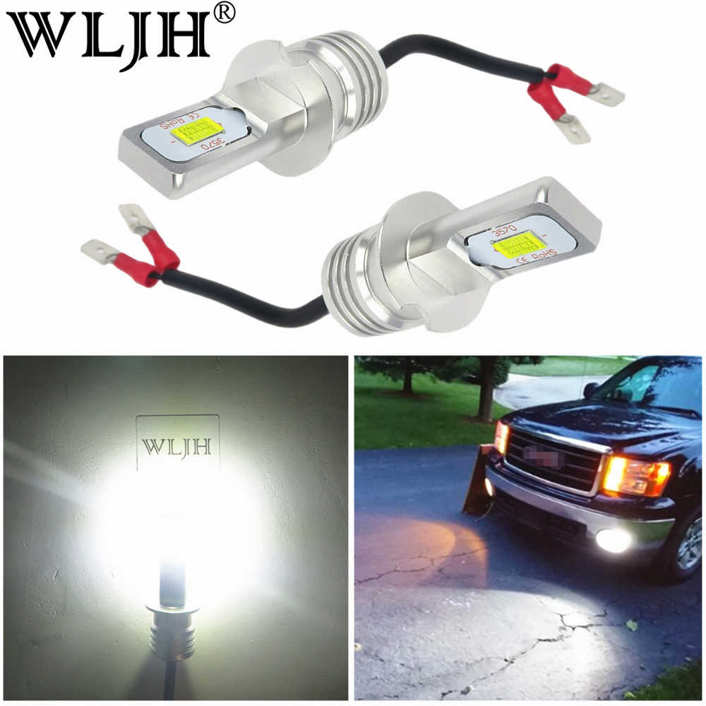 WLJH 2x Vehicle DC 12V -24V No Error Canbus H3 LED Fog Light Bulb Auto Truck Car Fog H3 Driving Daytime Running Light Lamp Bulb