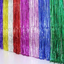 Foil Tinsel Fringe Curtain 2M 3M Gold Silver Metallic Birthday Party Decoration Wedding Photography Backdrop Photo Prop