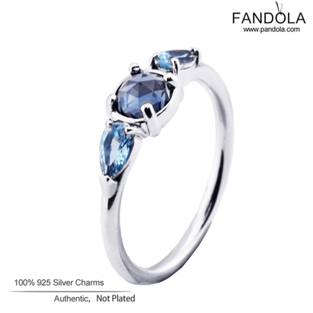 Patterns of Frost Rings Sterling-Silver-Jewelry Moonlight Blue & Sky-Blue Crystal Rings with Clear CZ 925 Silver Rings For Women