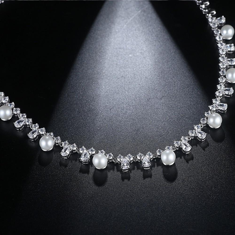 LUOTEEMI Créé Perles De Mariée Bijoux Ensembles Collier Boucle D'oreille Pour Les Femmes Nobel Style De Mariage Accessoires Décoration Cadeau - 5