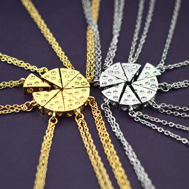 8 pcs Jahitan Sahabat Selamanya Kalung Emas/Perak Semangka Bentuk Pizza Keju Liontin Kalung Persahabatan Kenang-kenangan
