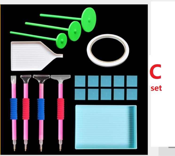 Caja de Herramientas de pintura de diamantes cuadro de mosaico accesorios diamante bolígrafo para bordar accesorios calcomanías de imitación de diamante adhesivos bandejas de plástico