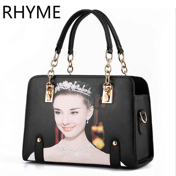 ФОТО RHYME Woman Top Handle Bags New Style Solid Chain Fashion Female Package Shoulder Bag Pu Leather Handbag