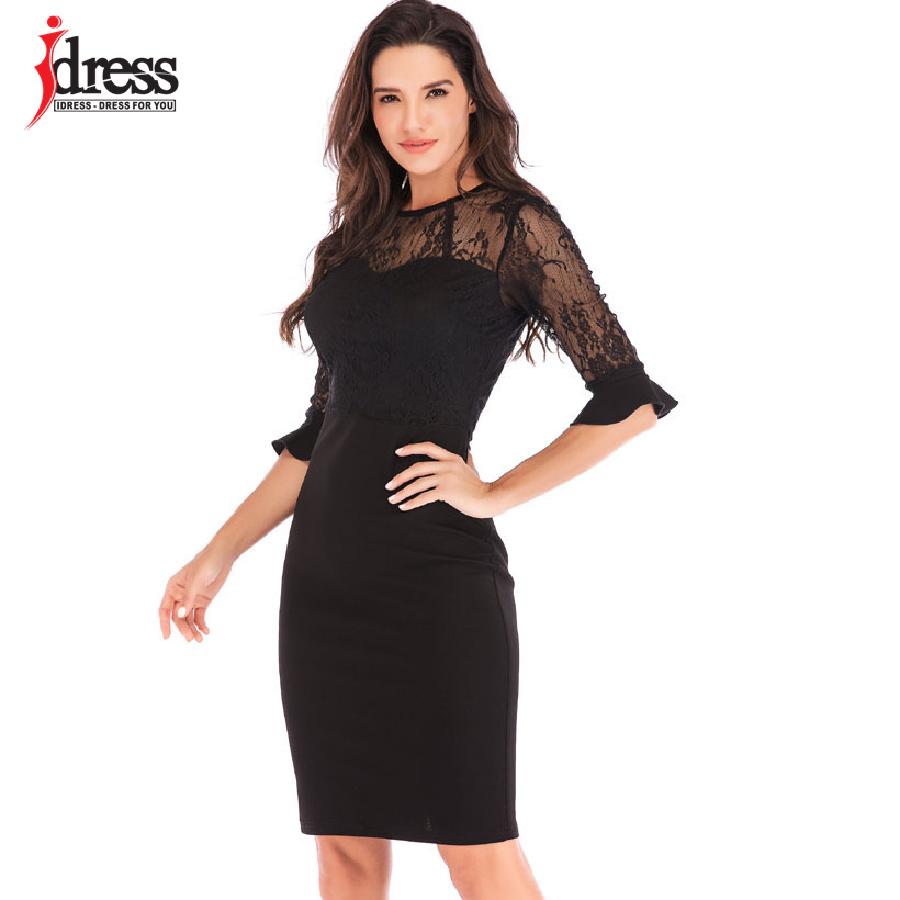 IDress Drop Shipping Clothes Women Sexy Dress Summer Black Lace Bodycon  Evening Party Dress Hollow Elegant d70f41da3201