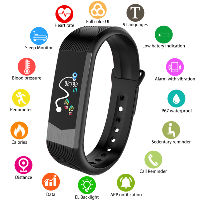 SKMEI UI Smart Watch Men Women Bluetooth Heart Rate Blood Pressure Fitness Pedometer Sport Bracelet IP67
