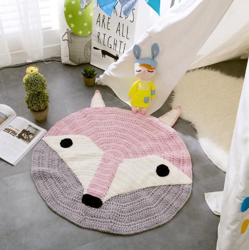 Tapis tissé à la main de bande dessinée acrylique chaudement Europe tapis rond sur la prière de chambre à coucher pour les enfants rampant jouant des tapis tricotés de décor à la maison