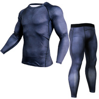 Men T Shirts Trousers Set 2 Piece Men S Sportswear Compression Suit Joggers Fitness Base Layer